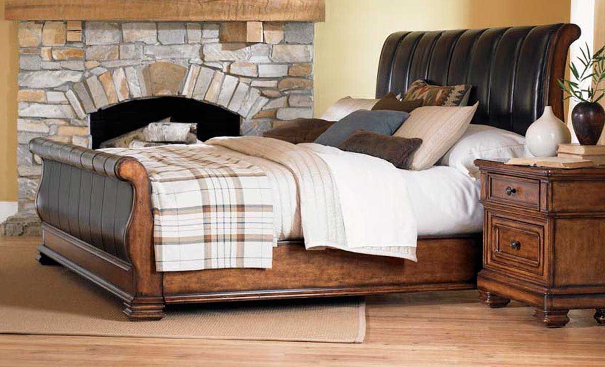 Larkspur Leather Sleigh Bed - Legacy Classic