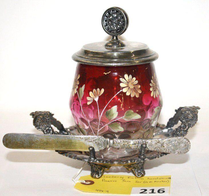 Lot: 216: RUBINA JAM JAR, Lot Number: 0216, Starting Bid: $150, Auctioneer: Hewlett's Auctions, Auction: HEWLETTS MAY 20TH,2012  ANTIQUE AUCTION, Date: May 20th, 2012 EDT