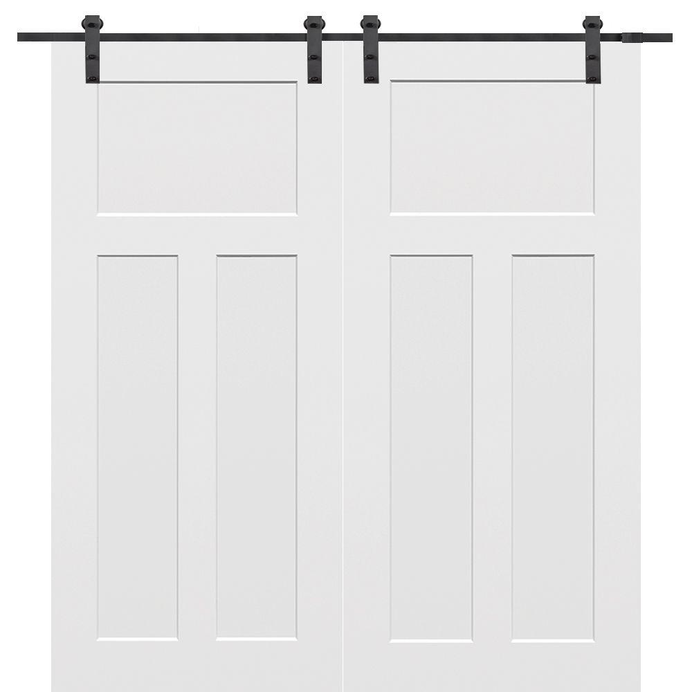 Mmi Door 60 In X 80 In Primed Composite Craftsman Smooth Surface Solid Core Double Sliding Barn Door With Hardware Kit Z009614 The Home Depot Barn Doors Sliding Double Sliding Barn