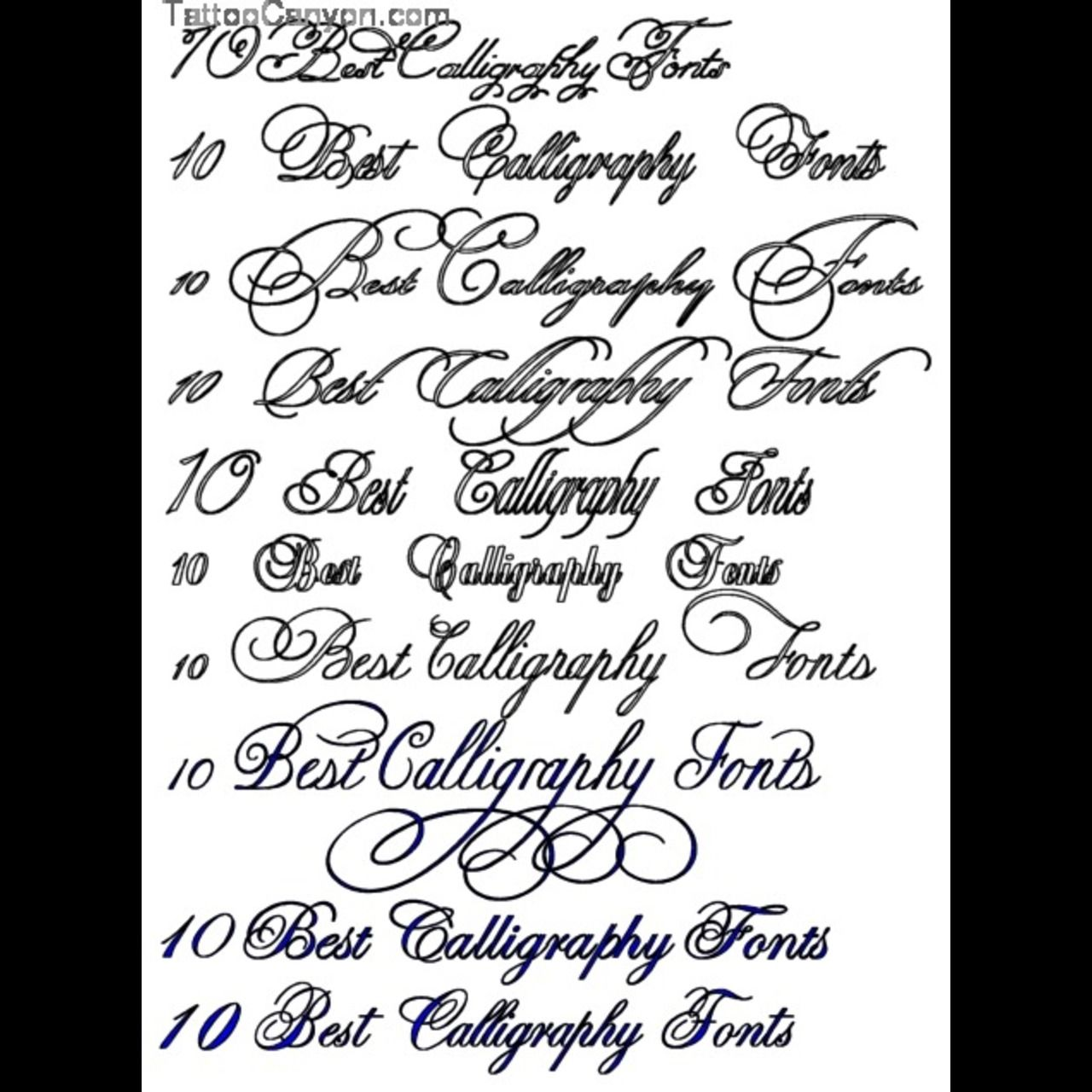 Calligraphy fonts classic tattoo great