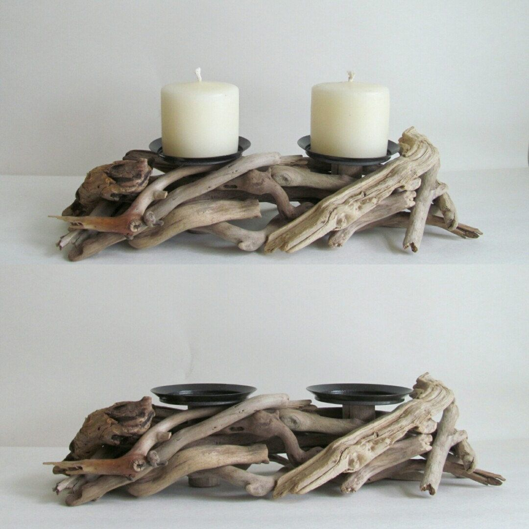 A new addition to our line, this driftwood candle holder has tons of rustic  charm