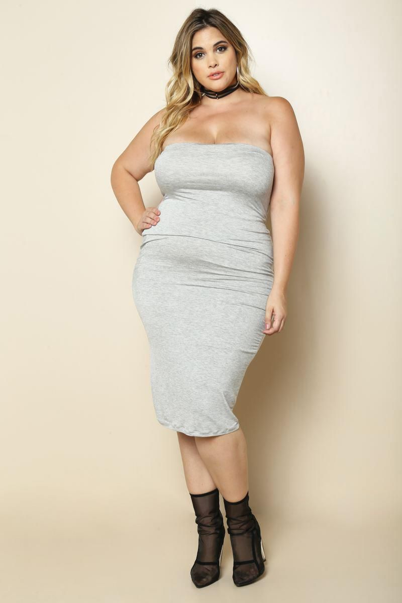 1099 Plus Size Timeless Solid Tube Dress Funcasual Pinterest