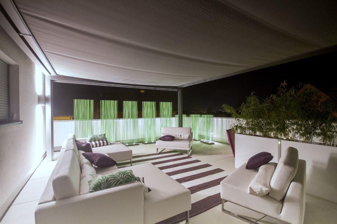 Terrasse Modern Gestalten terrasse modern gestalten mit loungemöbeln in weiß led