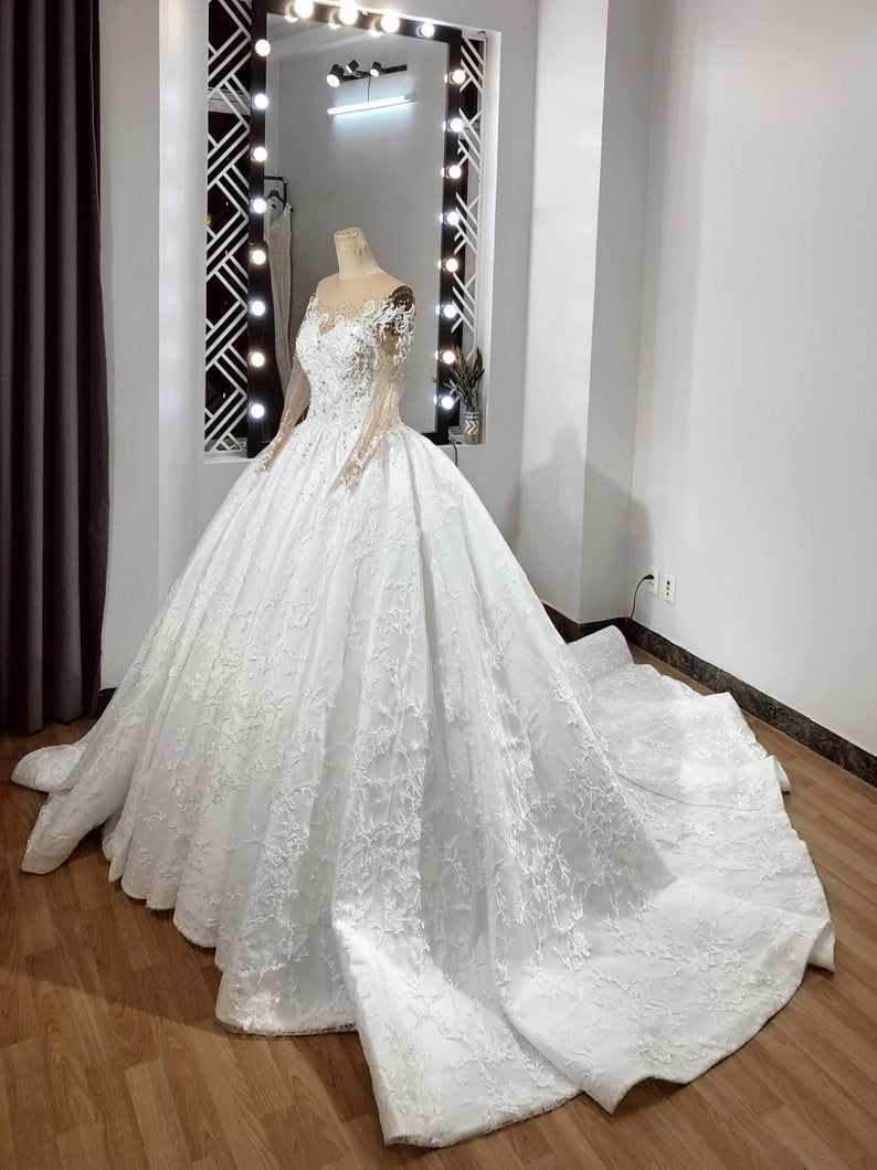 Couture Ballgown With Long Sleeve And Dramatic Train Princess Etsy In 2021 Ball Gowns Wedding Dresses Dresses