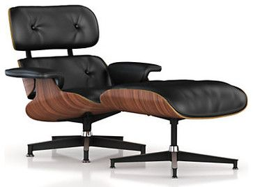 Admirable Actual Eames Lounge Chair And Ottoman Walnut Frame Black Uwap Interior Chair Design Uwaporg