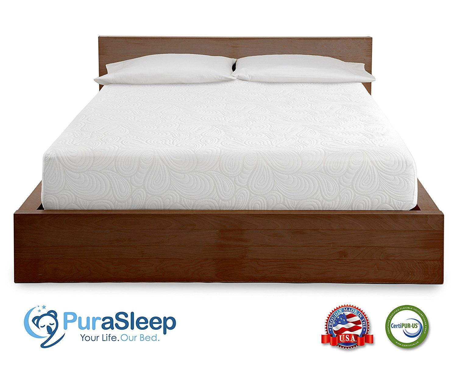 PuraSleep 8 Inch CoolFlow Memory Foam Mattress Made In