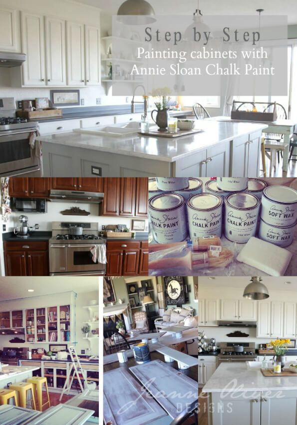 Collage showing kitchen cabinets befor and after