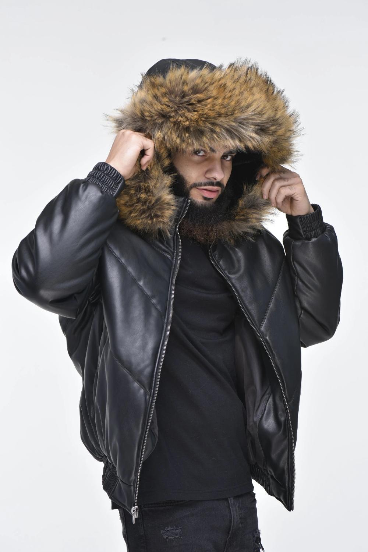 Men S Faux Leather V Bomber Jacket With Detachable Faux Fur Hood Black In 2021 Faux Fur Hood Fur Hood Stylish Leather Jacket [ 1500 x 1000 Pixel ]