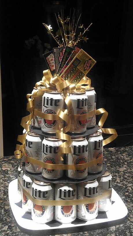 Beer Can Birthday CakeWe Used A 2 Liter Bottle For The Bottom Layer Ours Just Had Two Layers Wired To Secure Cans And Then Covered With Ribbon