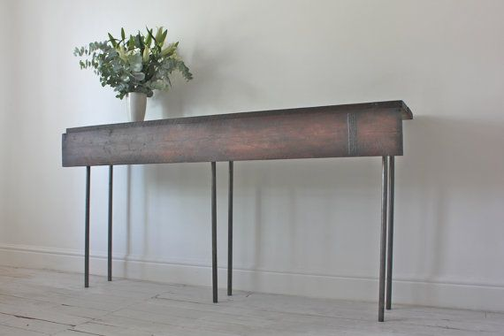 Bespoke Dark Stained Reclaimed Scaffolding Boards and Graphite Steel Pipe Bar or Console Table with Hinged Drop Leaf - www.inspiritdeco.com on Etsy, R$2.283,19