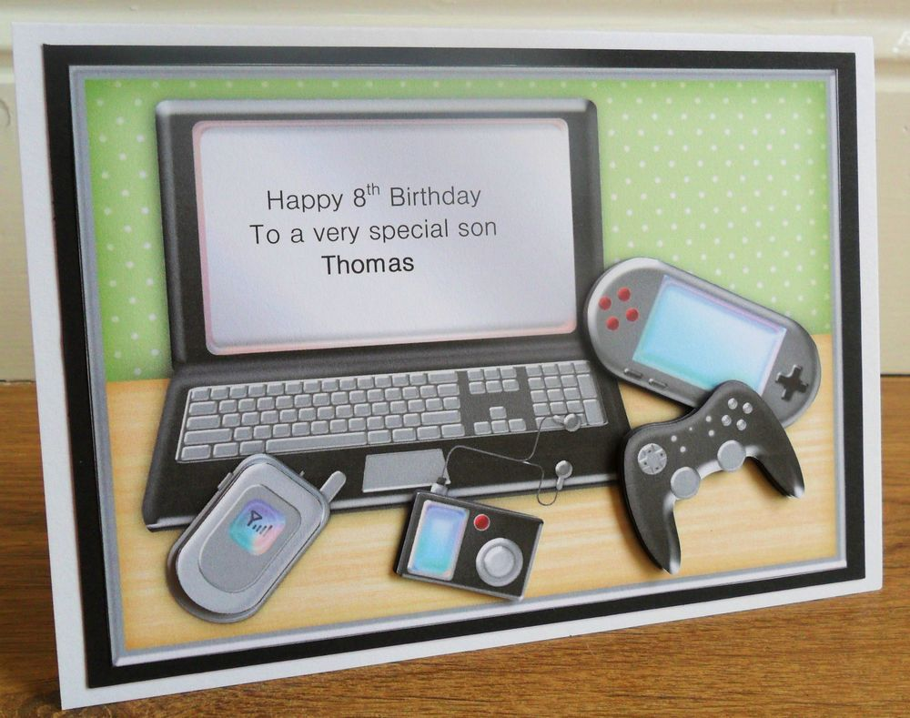Handmade Th Birthday Cards Son ~ Personalised handmade computer laptop gadgets birthday card