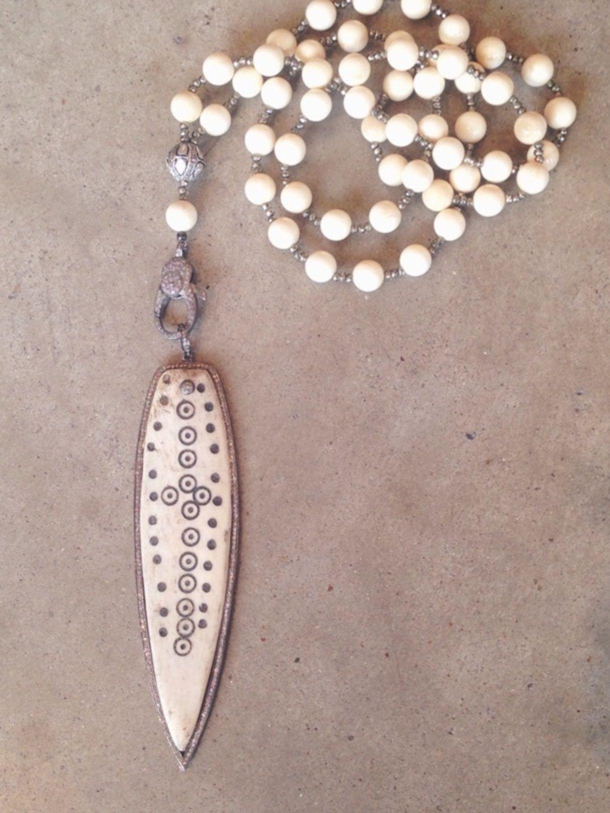 Jennifer Lyon Jewelry Mammoth ivory and pyrite with rose cut