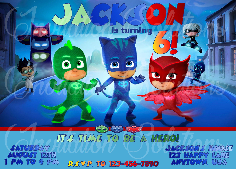 PJ Masks Birthday Party Invitation Gener Neutral/ Boy or Girls ...