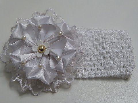 Diy: Aprenda a elaborar lindas flores para banditas de bebe, Tiaras con flores de listón - YouTube