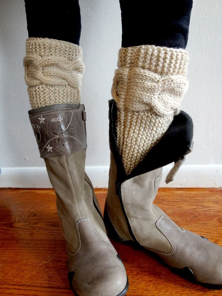 Hand Knitted Cable Boot Cuffs. Beige Leg warmers.