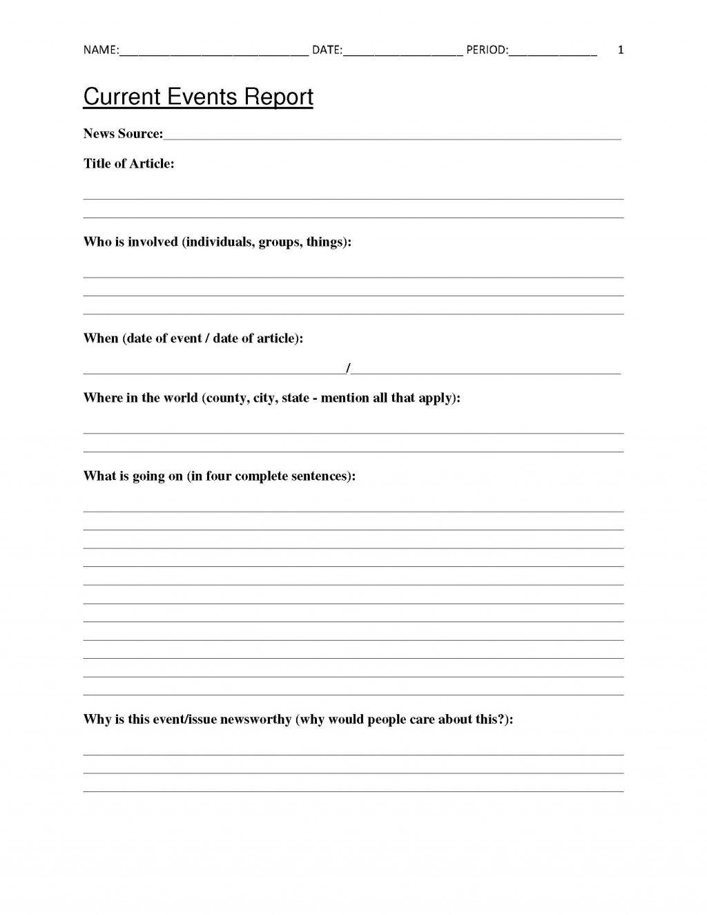 Free Current Events Report Worksheet For Classroom Teachers Current Events Worksheet Social Studies Worksheets Science Current Events [ 1325 x 1024 Pixel ]