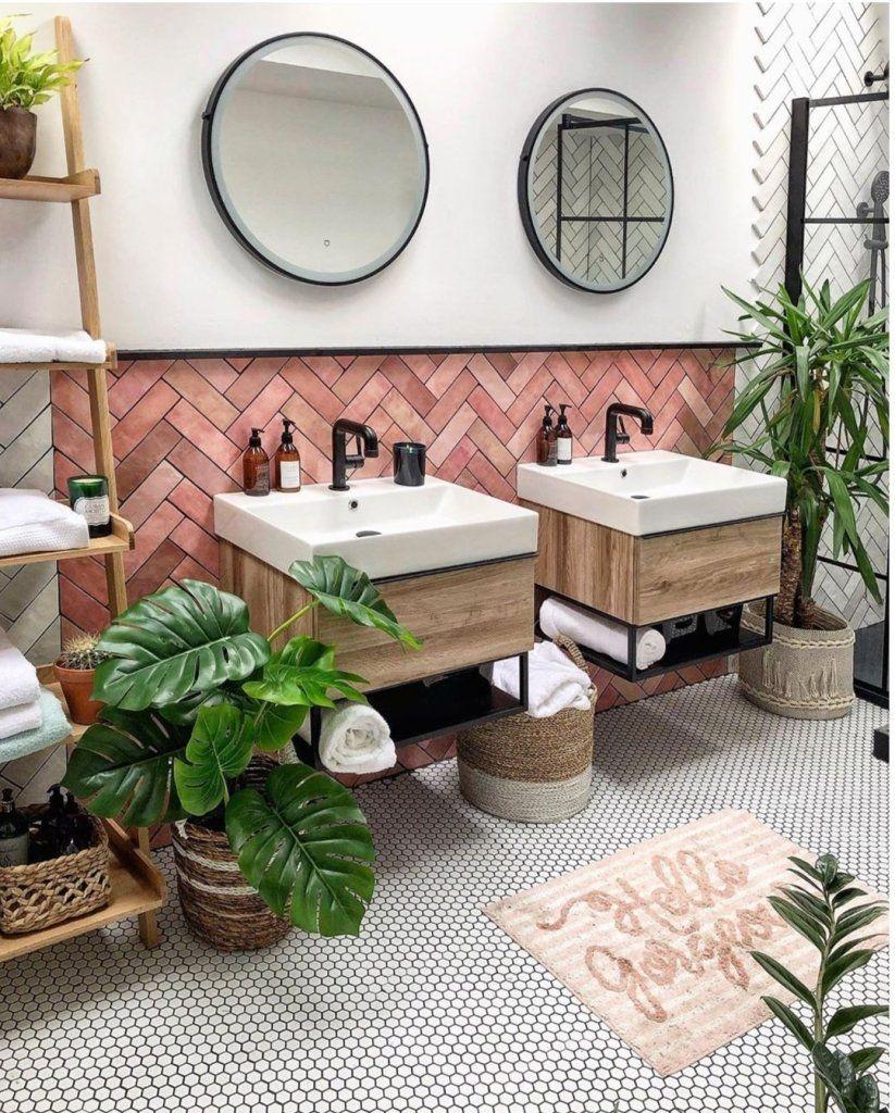 Photo of 14 Gorgeous Pink Bathroom Ideas | Jungle Bathroom | Tropical Decor | Double Dink…