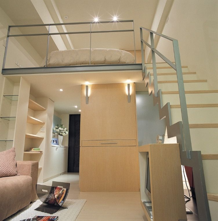 mezzanine bed- space saving design- 489 square feet house in, Hause ideen