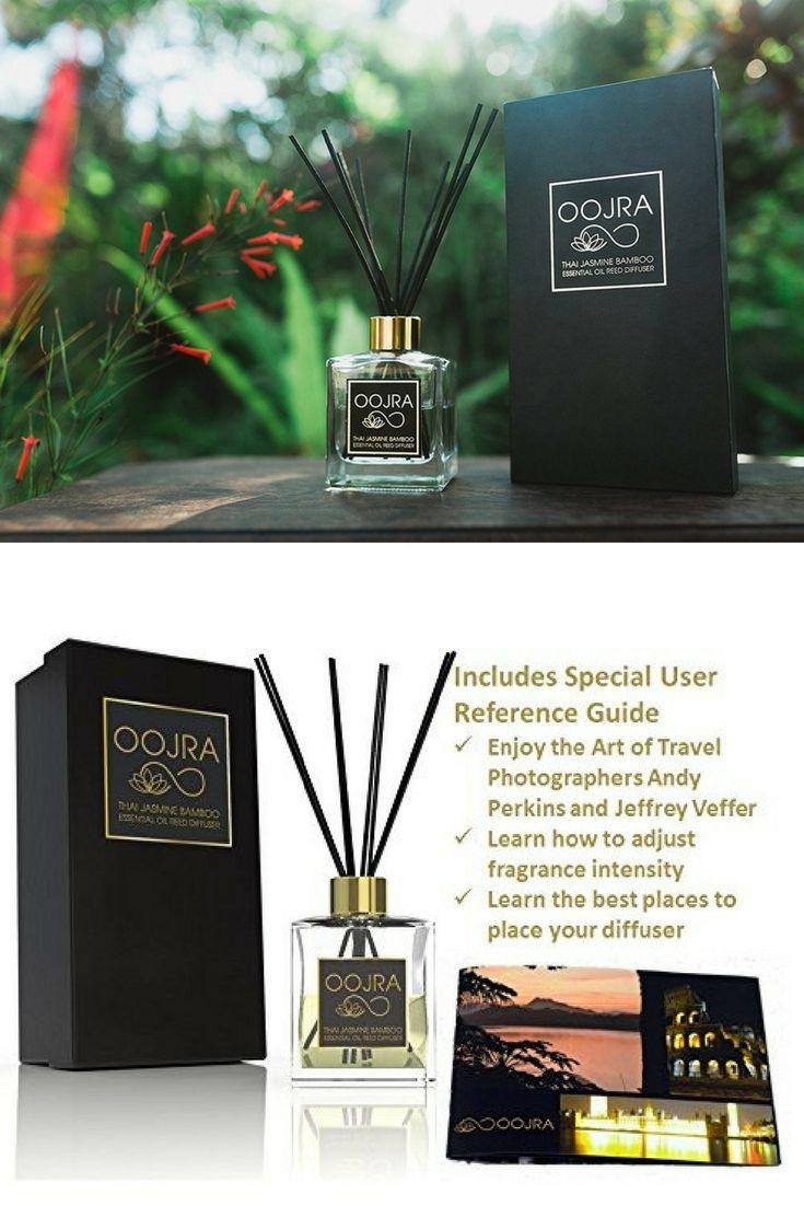 Oojra Thai Jasmine Bamboo Essential Oil Reed Diffuser Gift Set