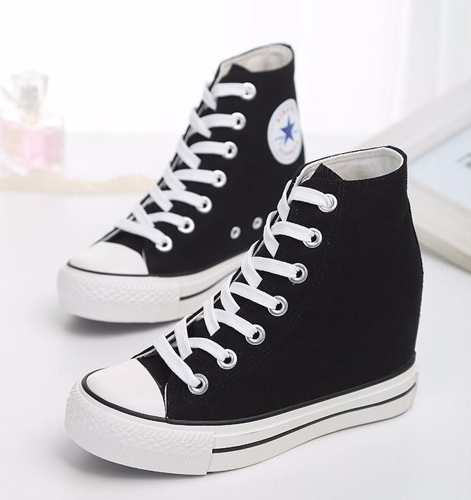 76e04dbf2c2 High Top Canvas Fashion Wedge Sneakers For Women | Daisy Dress for Less |  Women's Dresses & Accessories