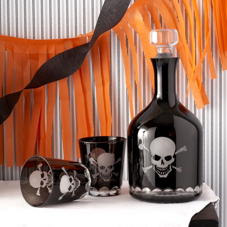 Skellington Skull and CrossBones glass (Individual