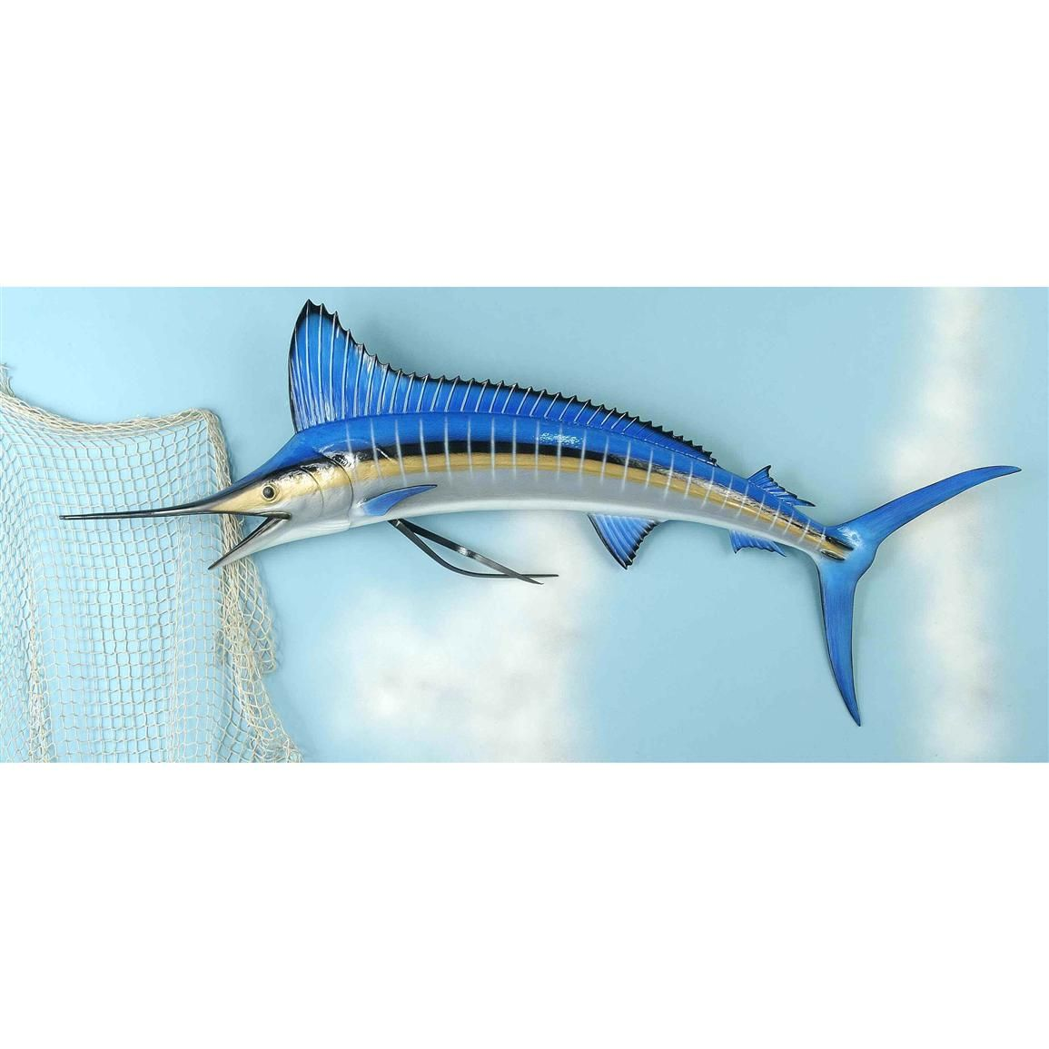 blue marlin wall plaque land sea 58 lifelike fiberglass blue marlin ...