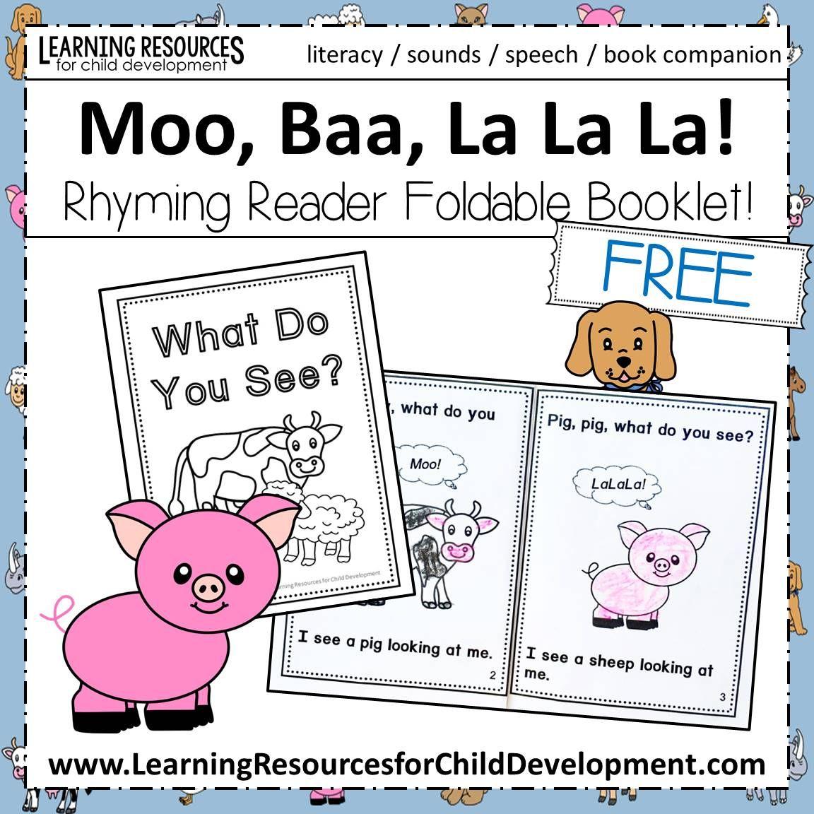 Moo Baa La La La Book Companion Rhyming Reader Booklet