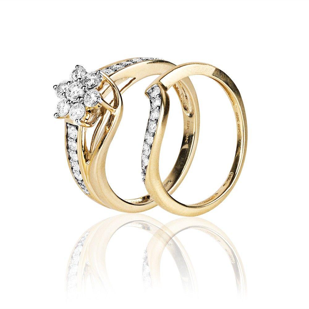9ct Yellow Gold 075ct Diamond Flower Cluster Twist Bridal