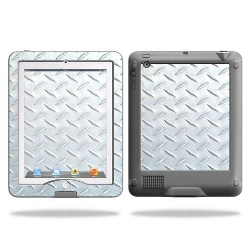 Mightyskins Protective Skin Decal Cover for LifeProof iPad 2/3/4 Case nüüd wrap sticker skins Diamond Plate