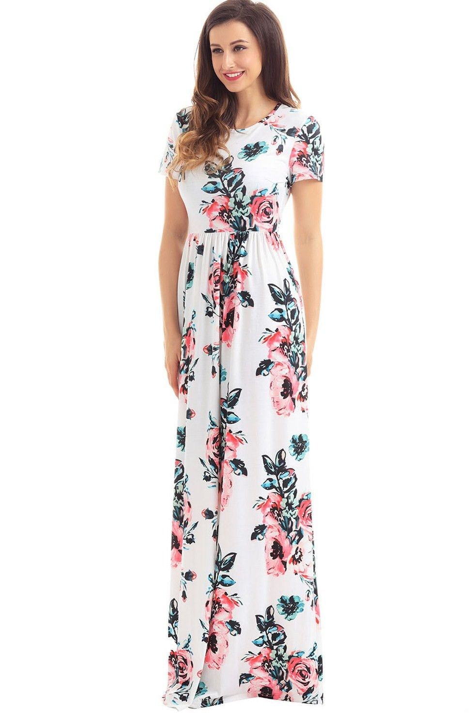 c21b011b5e9 Chic Pockets Short Sleeve White Floral Maxi Dress in 2019