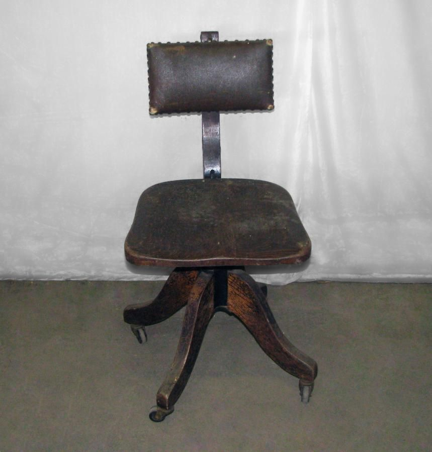 Antique Office Chair Oak   Antique Oak Rolling Office Chair With Worn  Leather Seat: Architectural .