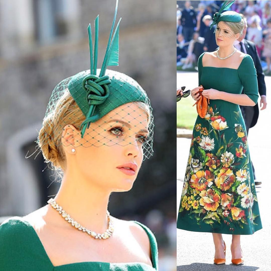 Prince Harry And Meghan Markle S Royal Wedding Guests The Groom S Maternal First Cousin Lady Kitty Spencer Looked Sombreros Para Bodas Boda Real Tocados Boda [ 1080 x 1080 Pixel ]
