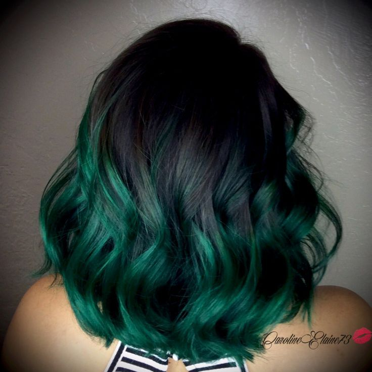 Image Result For Brown And Green Ombre On Mid Length Dark Hair