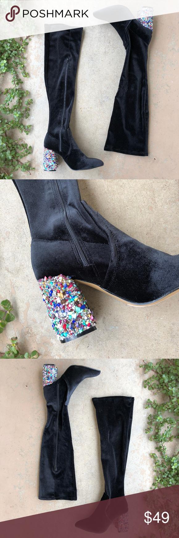 b8721df0d3a Betsey Johnson Velvet Knee High OTK Sock Boots Black velvet sock boots in  the style