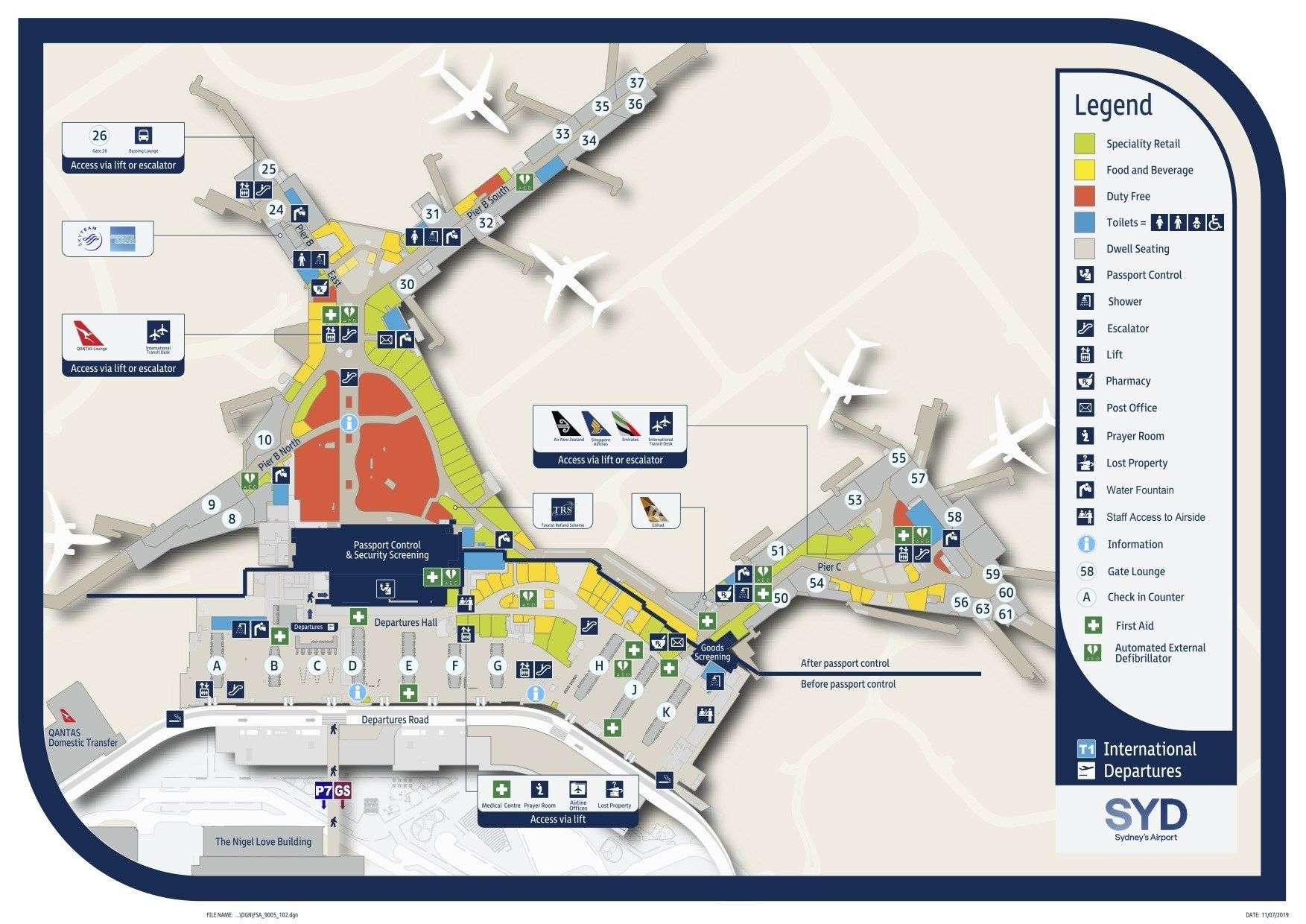 terminal 2 sydney domestic airport map Sydney Airport Map terminal 2 sydney domestic airport map