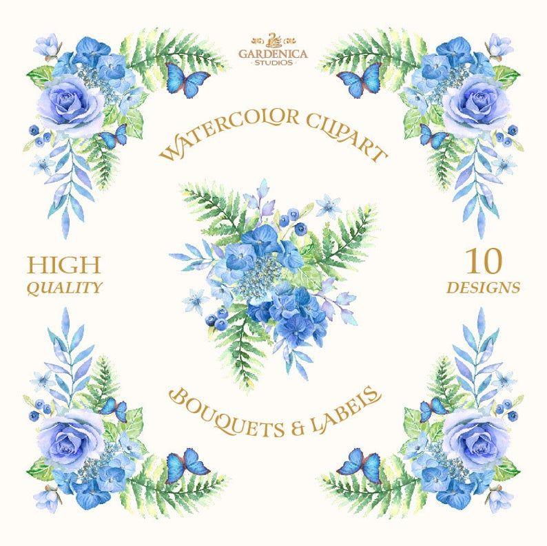 Bleu Aquarelle Fleurs Clipart Clipart Roses Bleues Hortensia Des