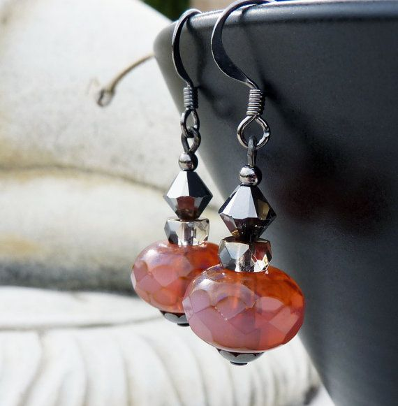 SALE  Persimmon and Black Crystal Earrings by lunarbelle on Etsy, $14.50