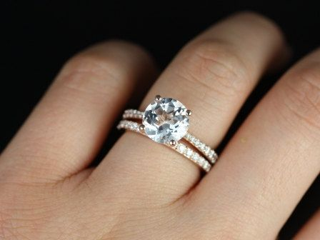 btaylor original size 14kt rose gold round white topaz and diamond cathedral wedding set - Rose Gold Wedding Ring Set