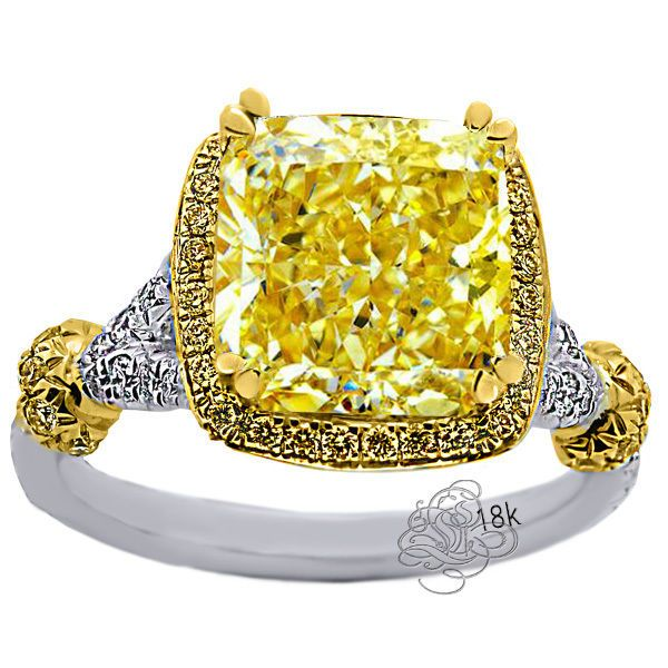 4.91 CARAT RADIANT CANARY DIAMOND HALO ENGAGEMENT RING 18K WHITE & YELLOW GOLD in Jewelry & Watches | eBay