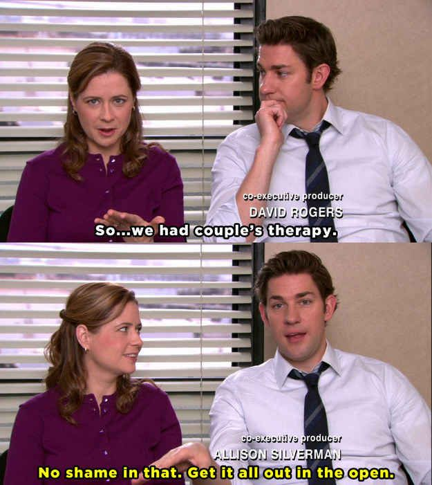 When Jim And Pam Were Willing To Admit Their Marriage Needed Some Work The Office Quiz The Office Show The Office Jim
