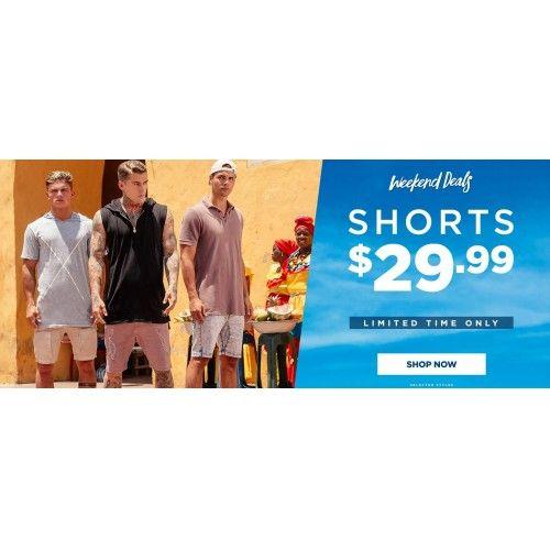 Only $29.99 Mens Shorts - Weekend Deals @ Hallenstein Brothers - Bargain Bro
