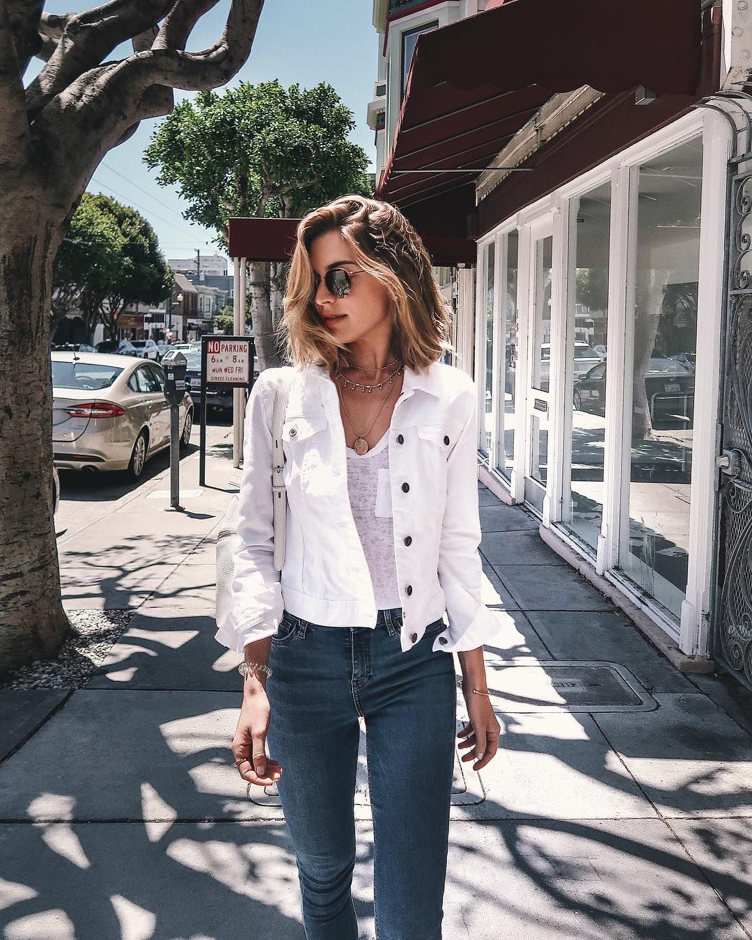 Nichole Ciotti On Instagram Bouncing Around The City Today Thinking About All Those Who Sacrificed Denim Jacket Women White Jacket Outfit White Denim Jacket