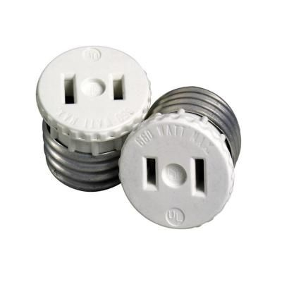 660 Watt Lamp Holder To Outlet Adapter, White R54 00125 00W   The Home Depot