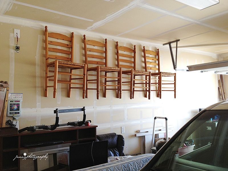 Go Up With Your Garage Storage Hanging Extra Dining Chairs On The