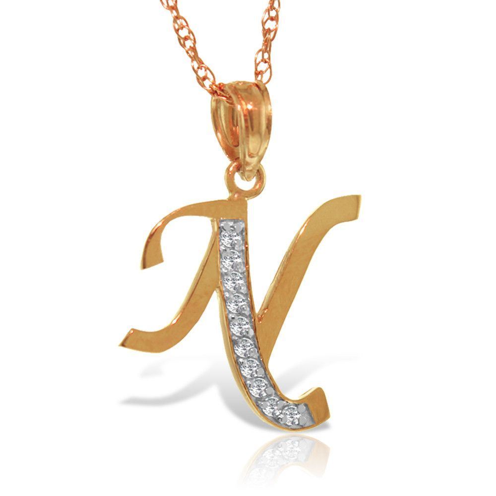 Jewelry k solid rose gold necklace with natural diamonds initial