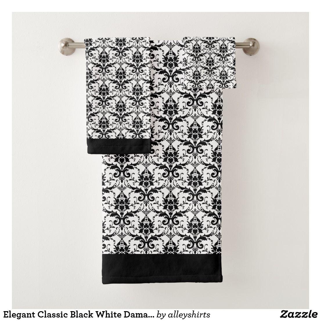 Elegant Classic Black White Damask Floral Pattern Bath Towel Set
