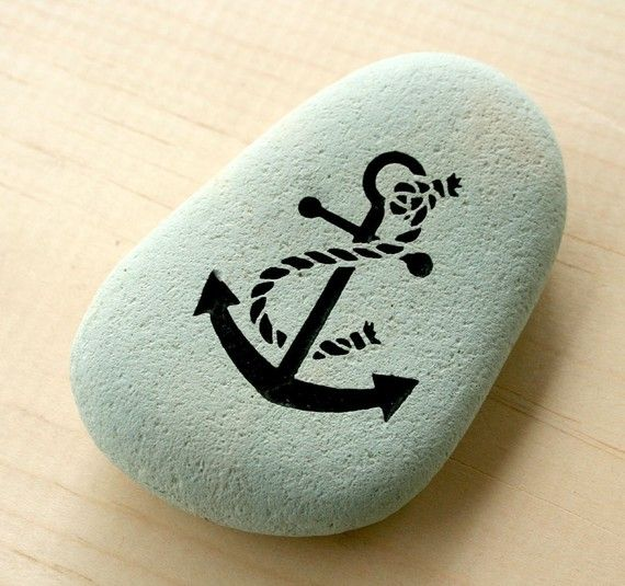 ANCHOR - Home Decor Stone Paperweight - Nautical Engraved Gift