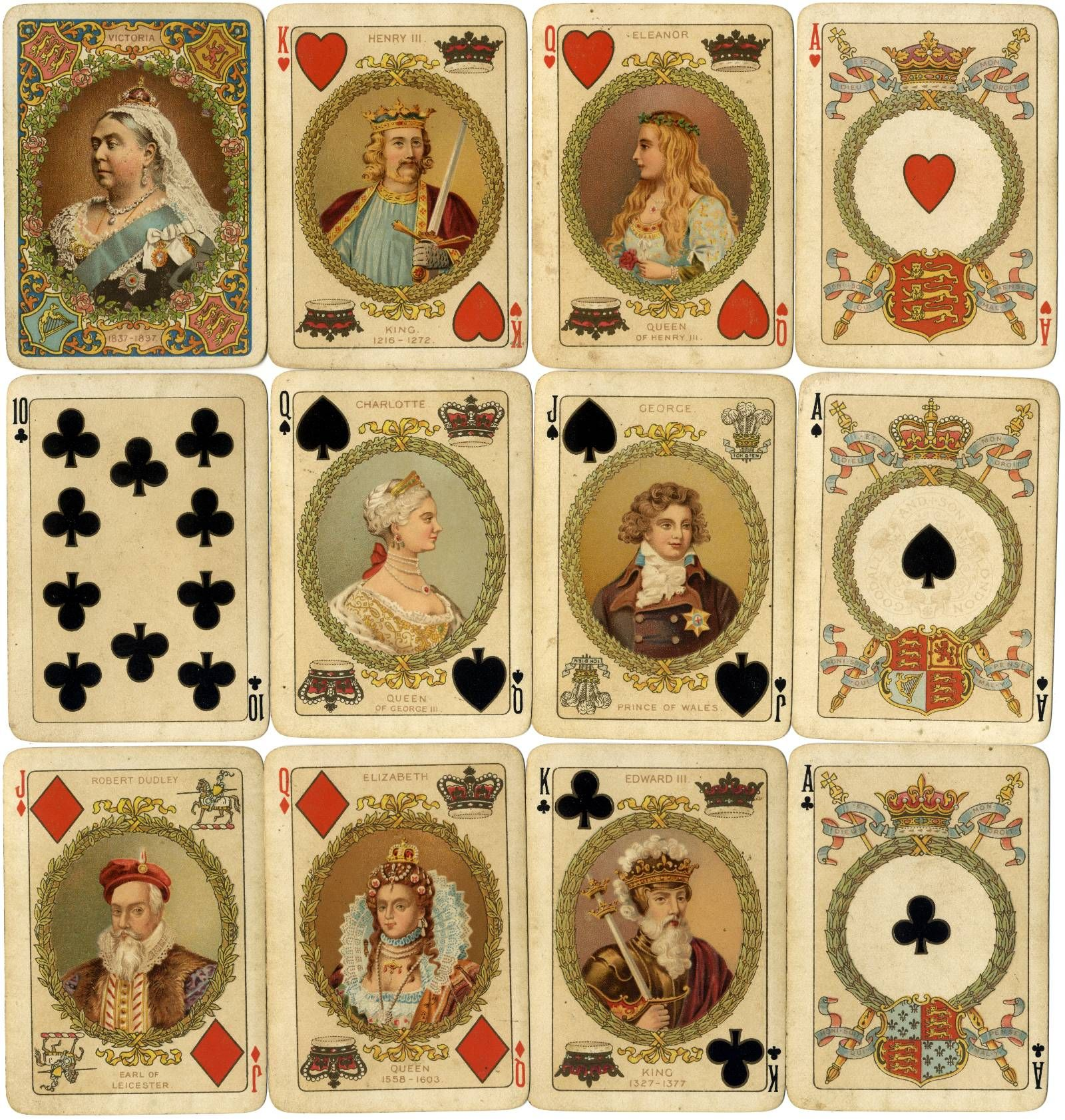 Playing cards commemorating Queen Victoria's Diamond Jubilee, manufactured by Chas Goodall & Son, 1897.