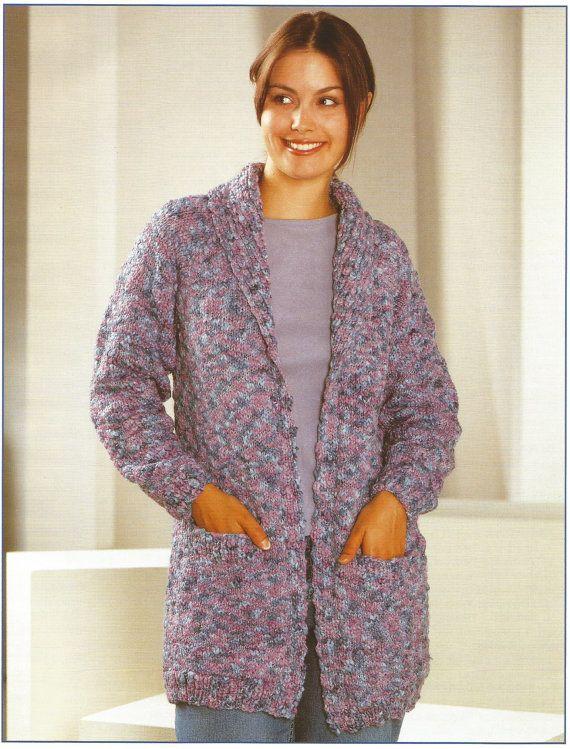 Vintage Ladies Jacket / Cardigan Womens Knitting Pattern ...