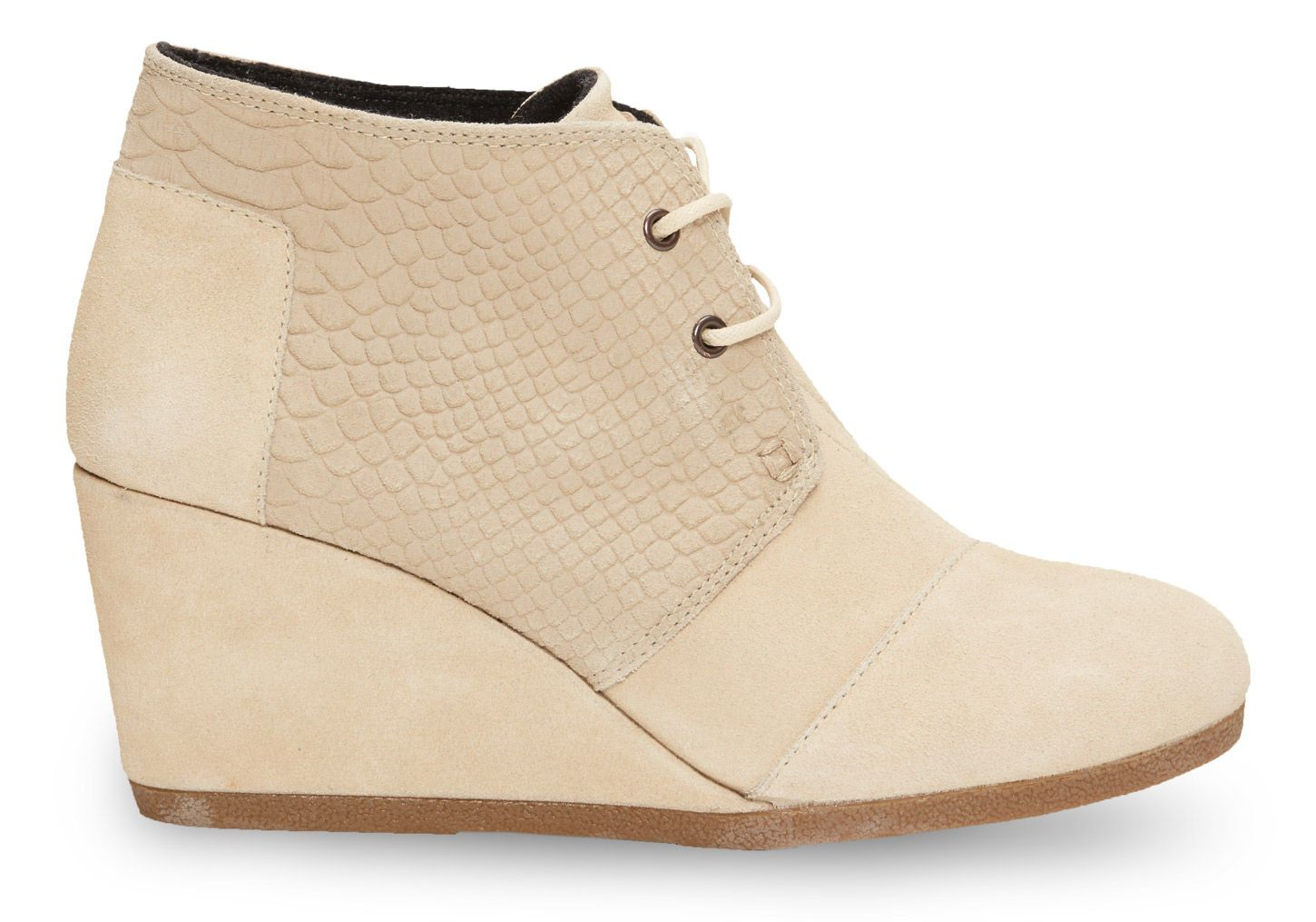 165e76edfb5 TOMS suede snakeskin Desert Wedges in cream.
